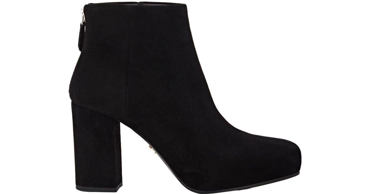 6783996f9e62 Lyst - Prada Suede Platform Ankle Boots in Black
