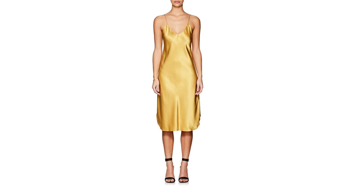24cac48cd19f Nili Lotan Silk Satin Slipdress in Yellow - Lyst