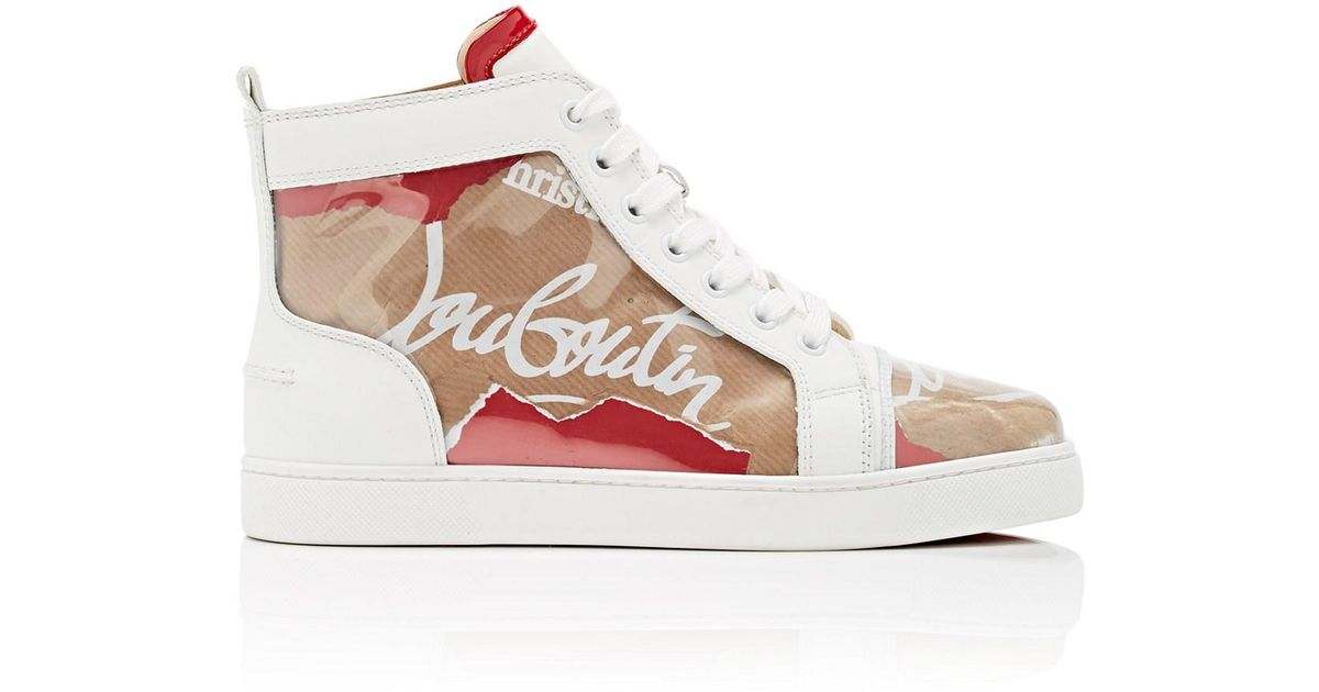 291a881faadc Lyst - Christian Louboutin Louis Kraft Leather And Pvc High Top Trainers -  Save 1%