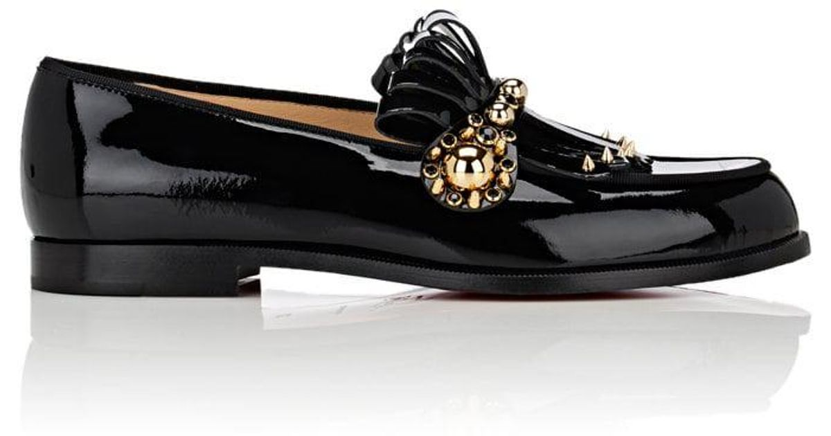 Lyst - Christian Louboutin Octavian Patent Leather Loafers in Gray 3061f7772e9a