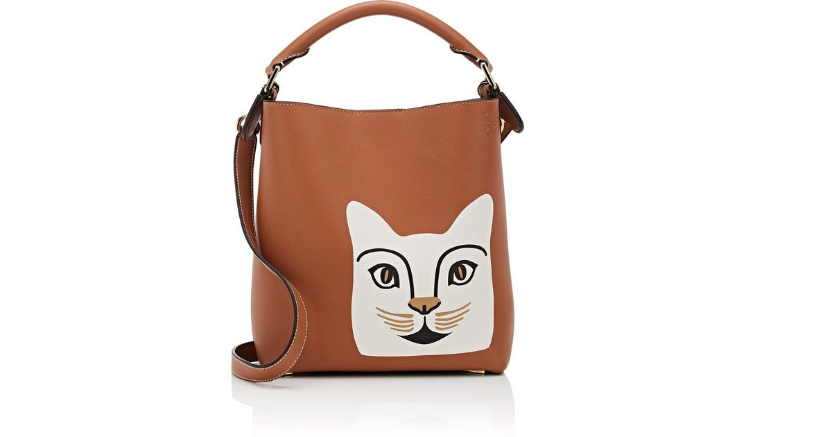 Loewe Cat Small Leather Bucket Bag in Brown - Lyst 2ddd9205bc136
