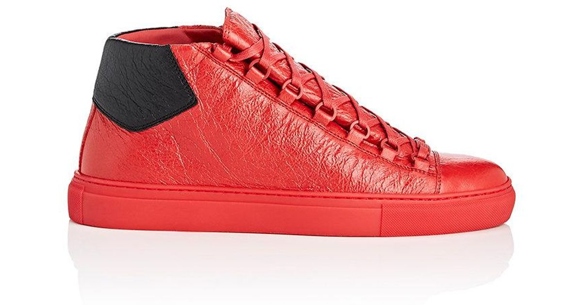 Lyst - Balenciaga Arena Leather Sneakers in Red for Men b02a1ccde