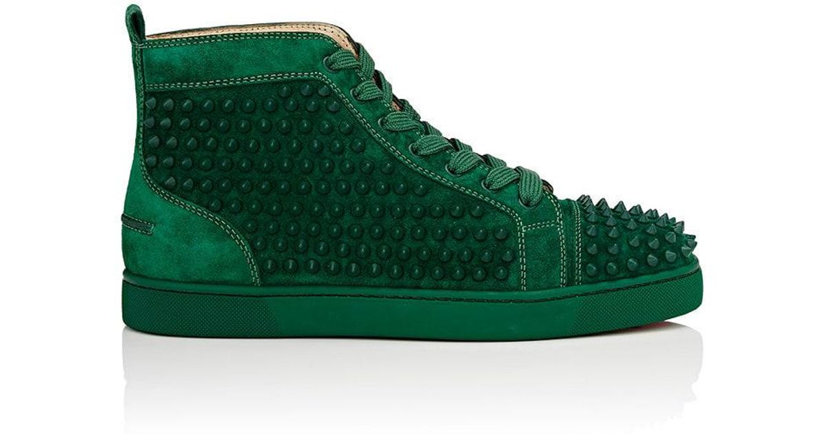 c9217f62bc4 Lyst - Christian Louboutin Louis Flat Suede Sneakers in Green for Men