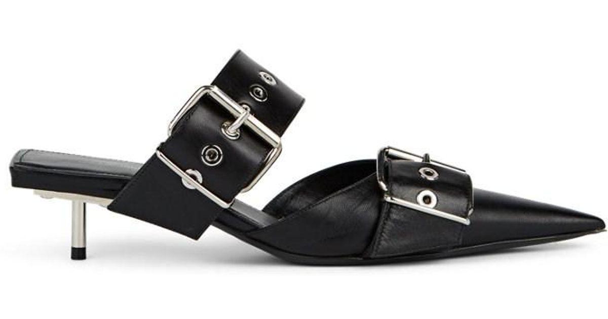 d38b06665294 Lyst - Balenciaga Buckle-strap Leather Mules in Black