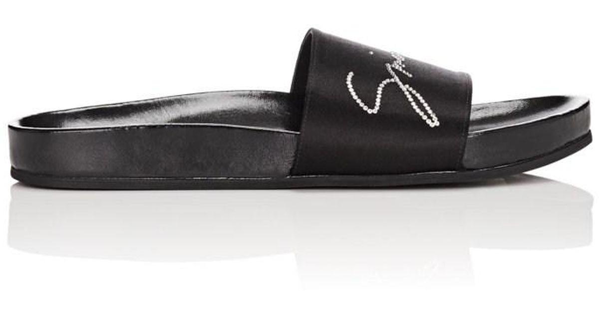 d58241353eac Lyst - Givenchy Crystal-logo Satin Slide Sandals in Black