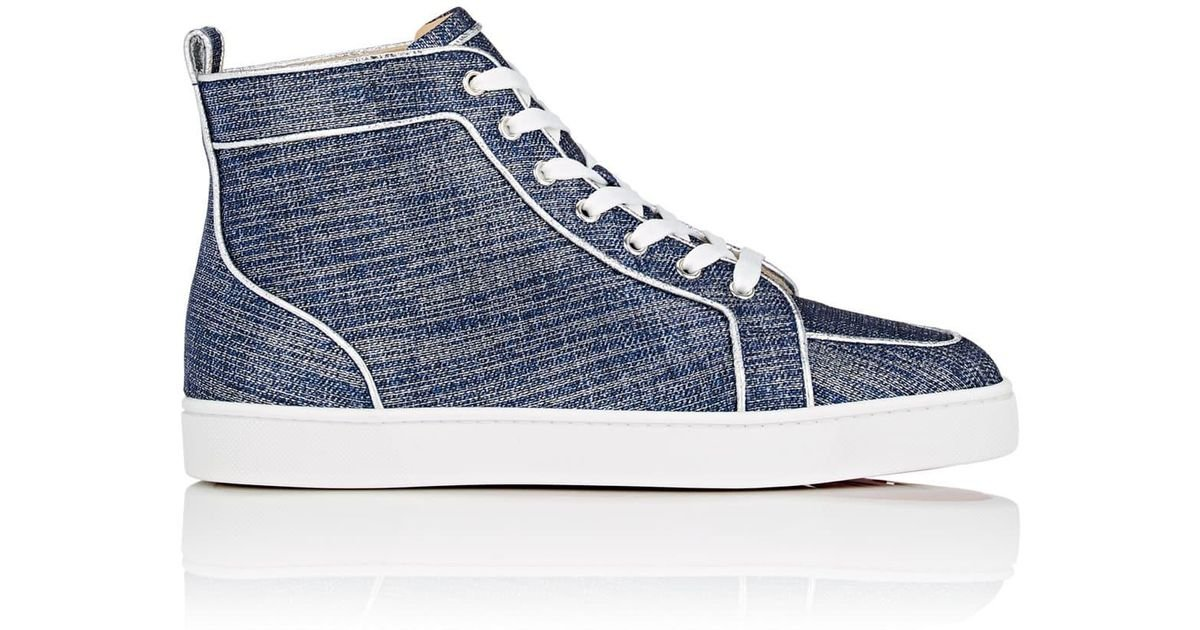 reputable site 1d1d6 b52d1 Christian Louboutin - Blue Rantus Orlato Flat Lamé Sneakers for Men - Lyst