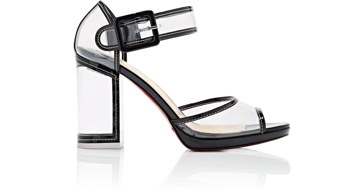 a5a1cebeffd Lyst - Christian Louboutin Barbaclara Patent Leather   Pvc Platform Sandals  in Black