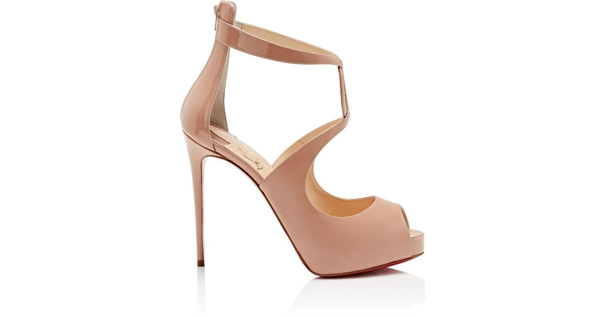 e7e3f9968b2 Christian Louboutin Rosie Patent Leather Platform Pumps in Natural - Lyst
