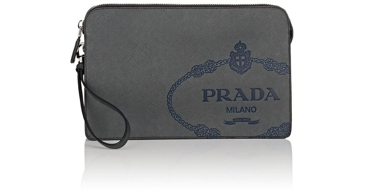 3d6f5109a8b0 Lyst - Prada Leather Pouch in Black for Men