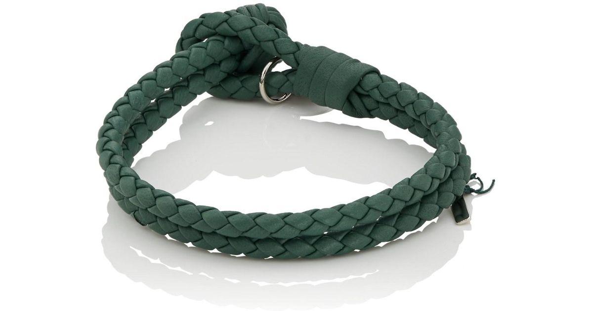 db44dd21ba049 Bottega Veneta - Green Intrecciato Leather Double-band Bracelet for Men -  Lyst photograph