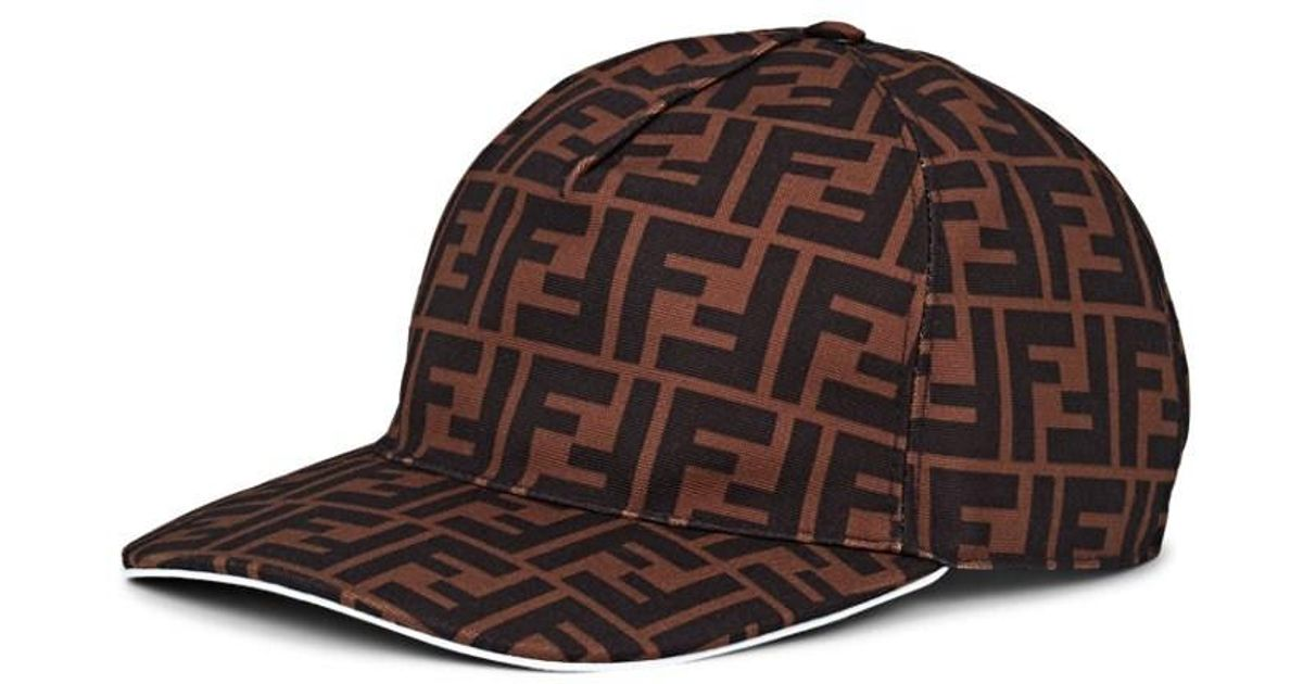 78b10f23a80 Lyst - Fendi Ff Logo Canvas Baseball Hat in Brown for Men