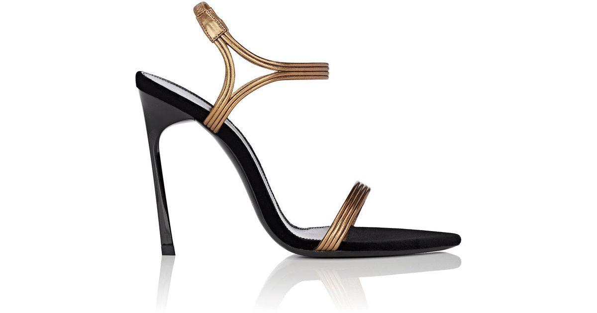 25d0d68dbdd6 Saint Laurent Talitha Metallic Leather   Velvet Sandals in Black - Lyst