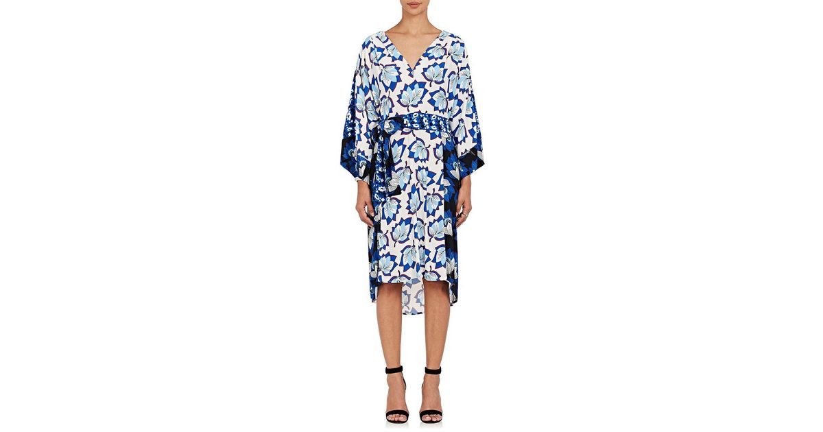 12c2969fa6472 Lyst - Warm Sketch Floral Crepe Wrap Dress Size 1 in Blue