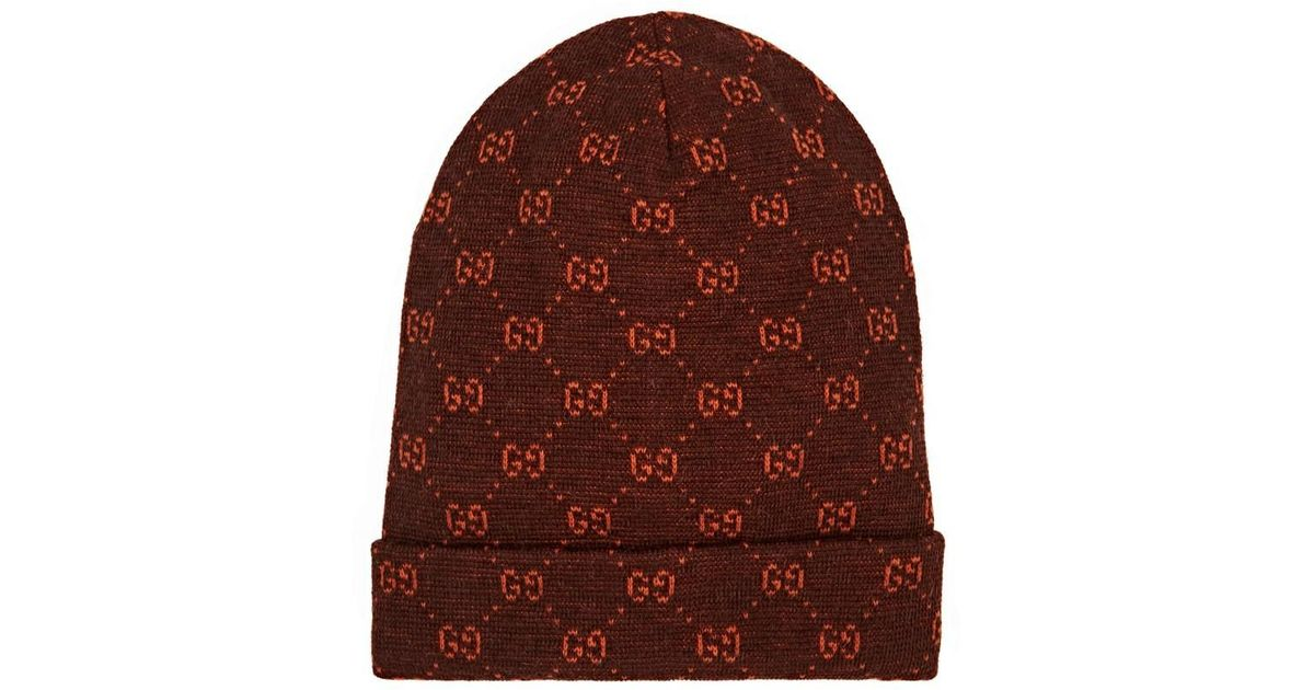 6b86d172 Gucci GG Logo Alpaca-wool Beanie in Brown for Men - Lyst