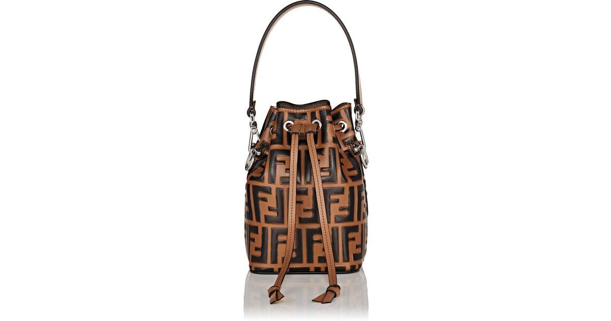 f76b9569162 Lyst - Fendi Mon Tresor Mini Bucket Bag in Brown