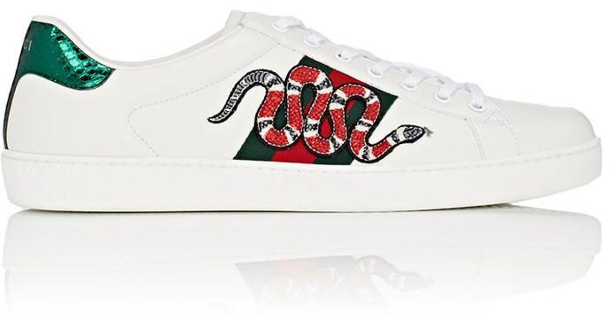 42e8bc264 Gucci Ace Embellished Sneakers In White All White Gucci Ace: Gucci White  Ace Embroidered Snake Sneakers In White