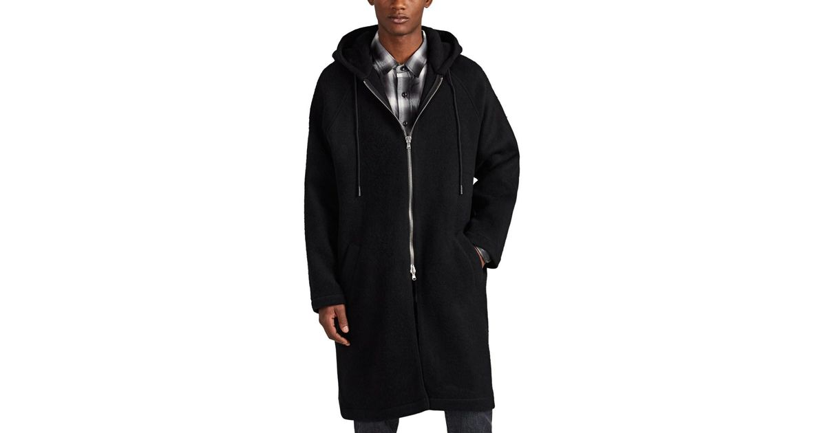 Hooded Miller Simon Black Wool Coat aTCZTq