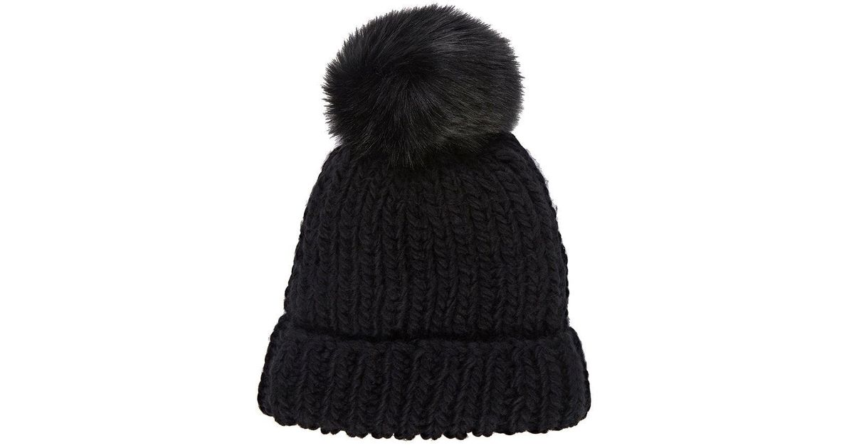 b194fb14748 Lyst - Barneys New York Pom-pom-embellished Hat in Black - Save 60%