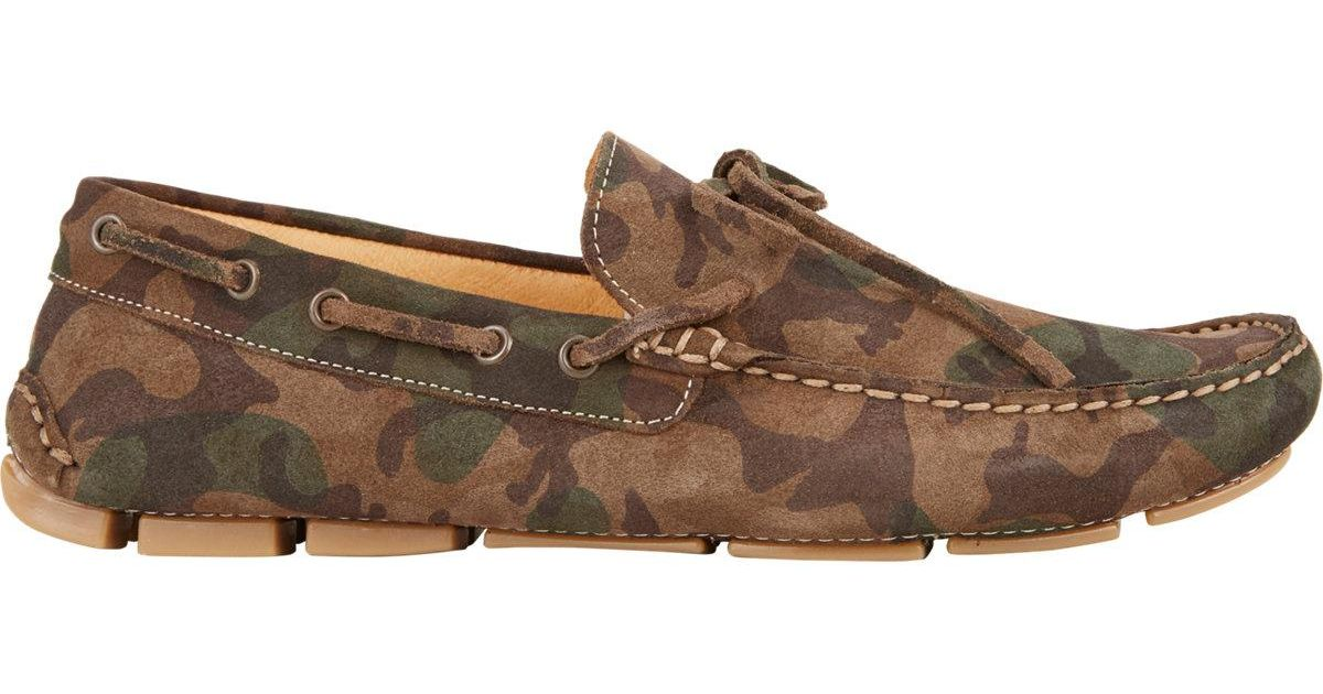 BARNEYS NEW YORK Camo Suede Tie Drivers