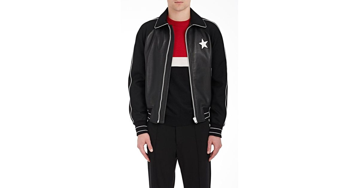 33058ff67 Givenchy - Black Star-appliquéd Leather Bomber Jacket for Men - Lyst