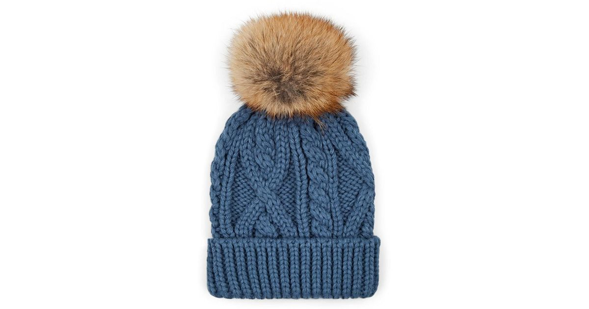 Lyst - Crown Cap Fur Pom-pom Cable-knit Beanie in Blue for Men 3015220cf4b
