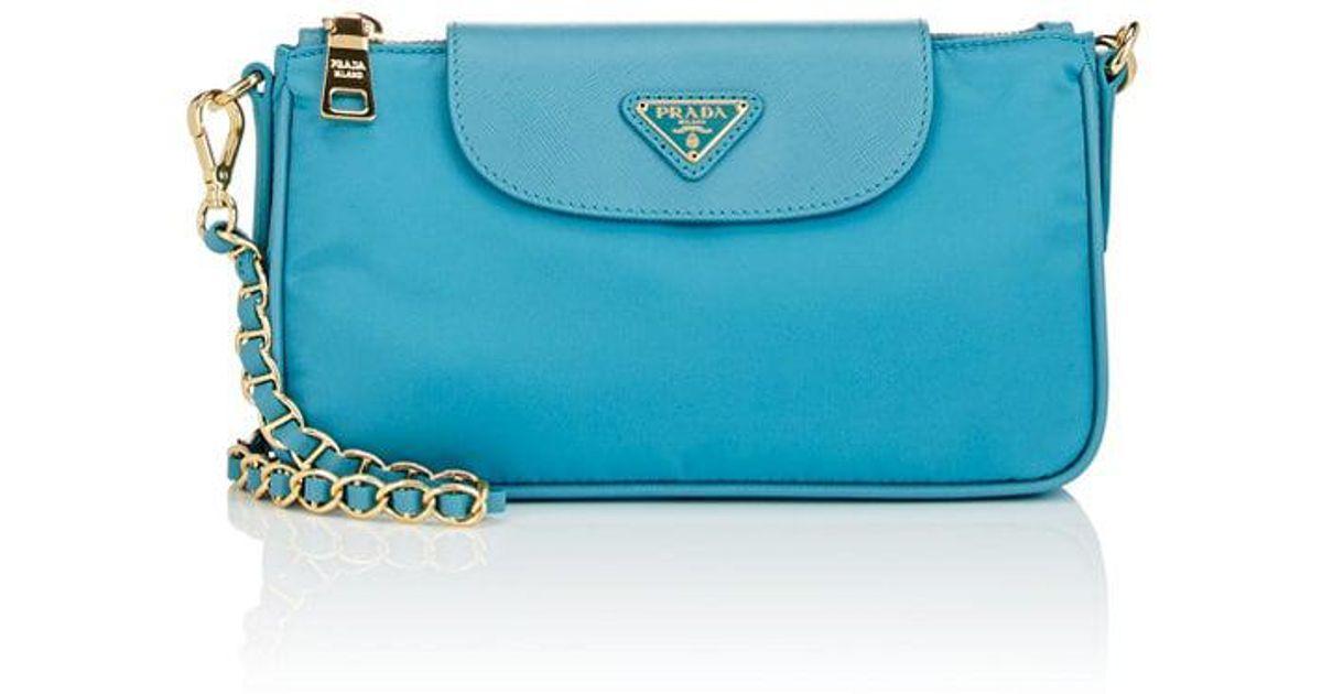 Lyst - Prada Leather-trimmed Shoulder Bag in Blue 84ffaab5f8a29