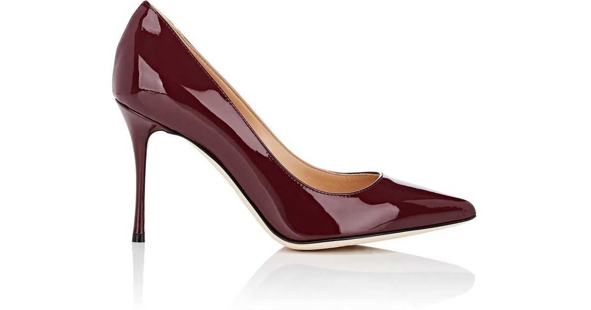 b47502303b2 Lyst - Sergio Rossi Patent Leather Pumps in Red