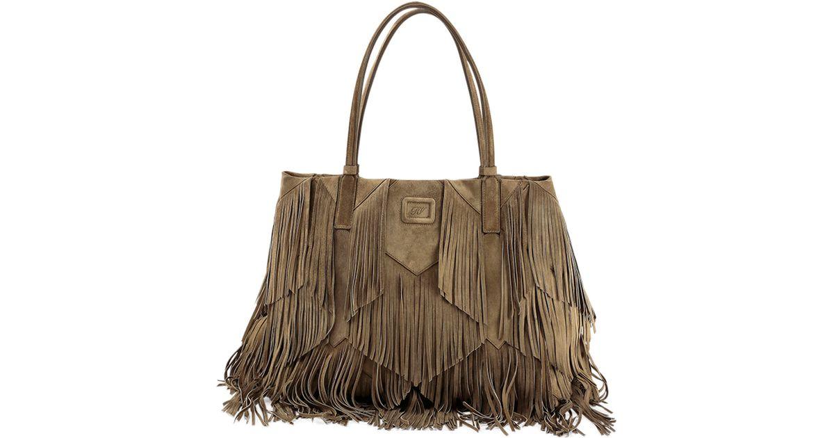 Lyst - Roger Vivier Prismick Suede Fringe Shopping Tote Bag in Green 7910c1d493026