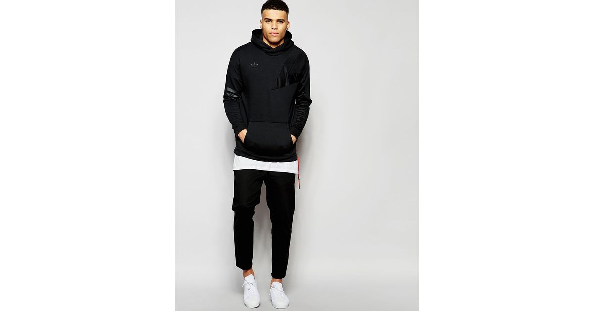 Lyst - Adidas originals Hoodie With Sleeve Print Aj7833 in Black for Men