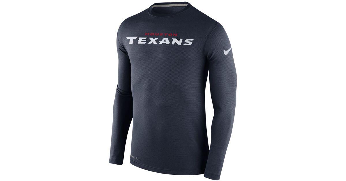 0e2bef7c4 Lyst - Nike Men s Long-sleeve Houston Texans Dri-fit Touch T-shirt in Blue  for Men
