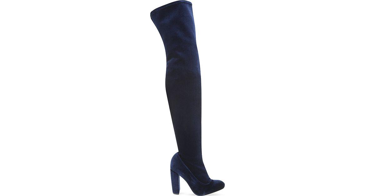 carvela kurt geiger wolf velvet thigh high boots in blue