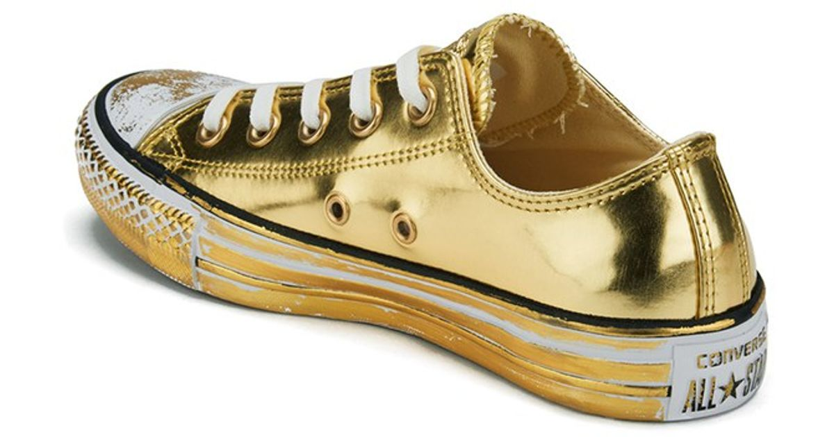 0a65f12c0ccb Converse Women s Chuck Taylor All Star Chrome Leather Ox Trainers in  Metallic - Lyst