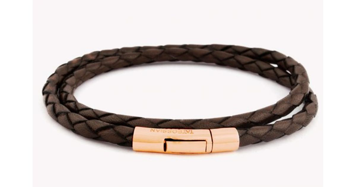 Lyst Tateossian Double Wrap Scoubidou Brown Leather Bracelet With 18k Rose Gold Clasp In For Men