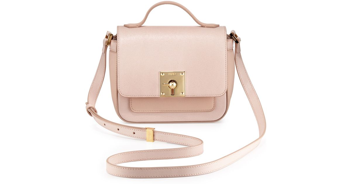 cb01a0df4c9a Lyst - Fendi Mini Borsa Leather Crossbody Bag in Pink
