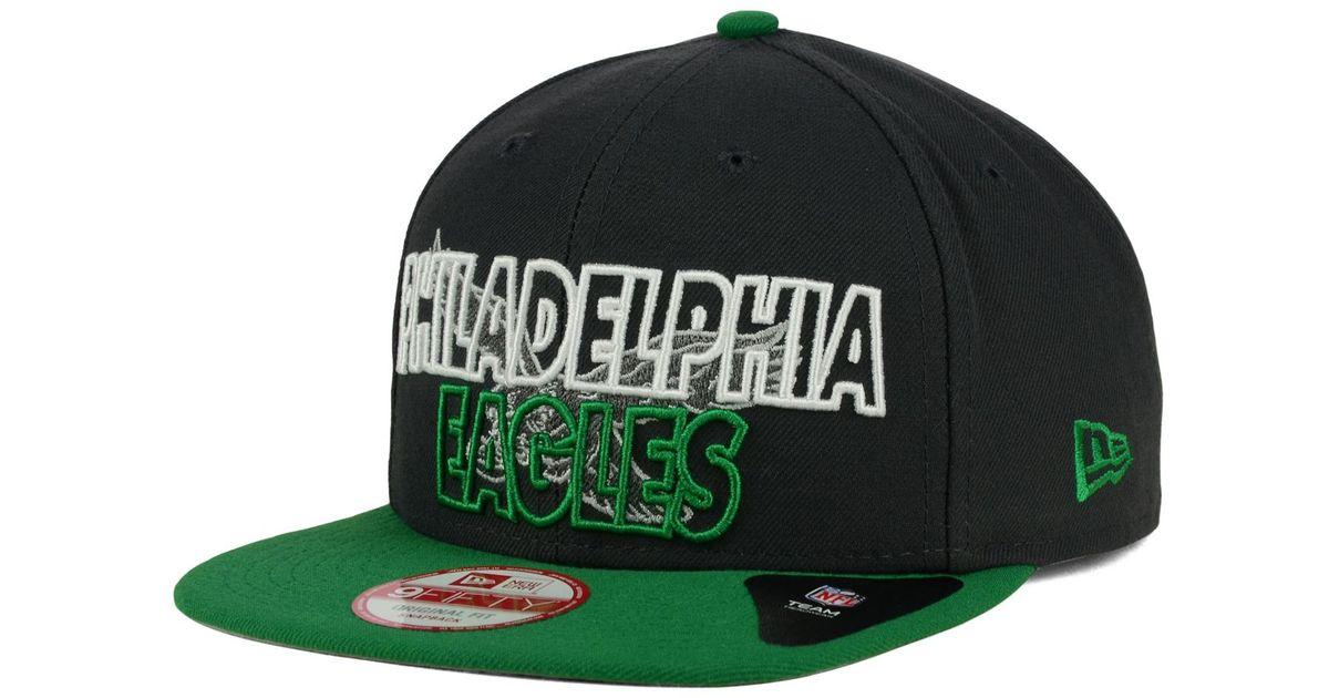 finest selection 26fd5 76b73 ... spain lyst ktz philadelphia eagles graph outline 9fifty snapback cap in green  for men ebeed 8c807