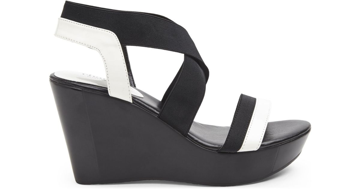 a02402f917c7 Lyst - Charles David Black   White Feature Wedge Sandals in White