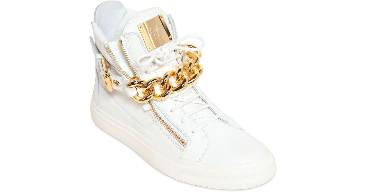 9ba0b93c51414 Lyst - Giuseppe Zanotti Metal Chain Leather High Top Sneakers in White for  Men