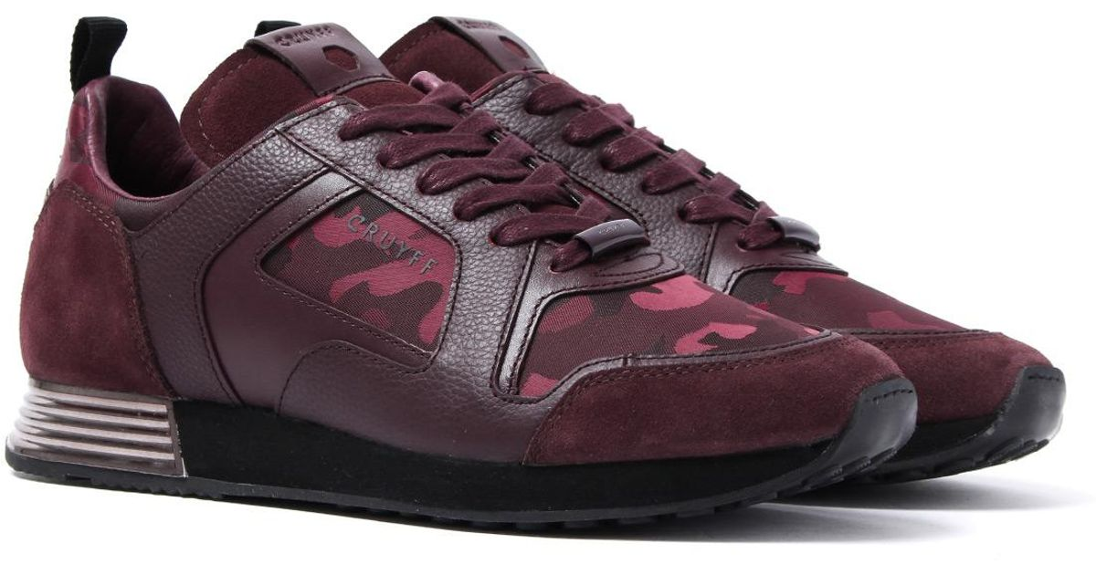 5306a3ccd10 Cruyff Classics Cruyff Burgundy Fade Camo Leather Lusso Trainers in Purple  for Men - Lyst