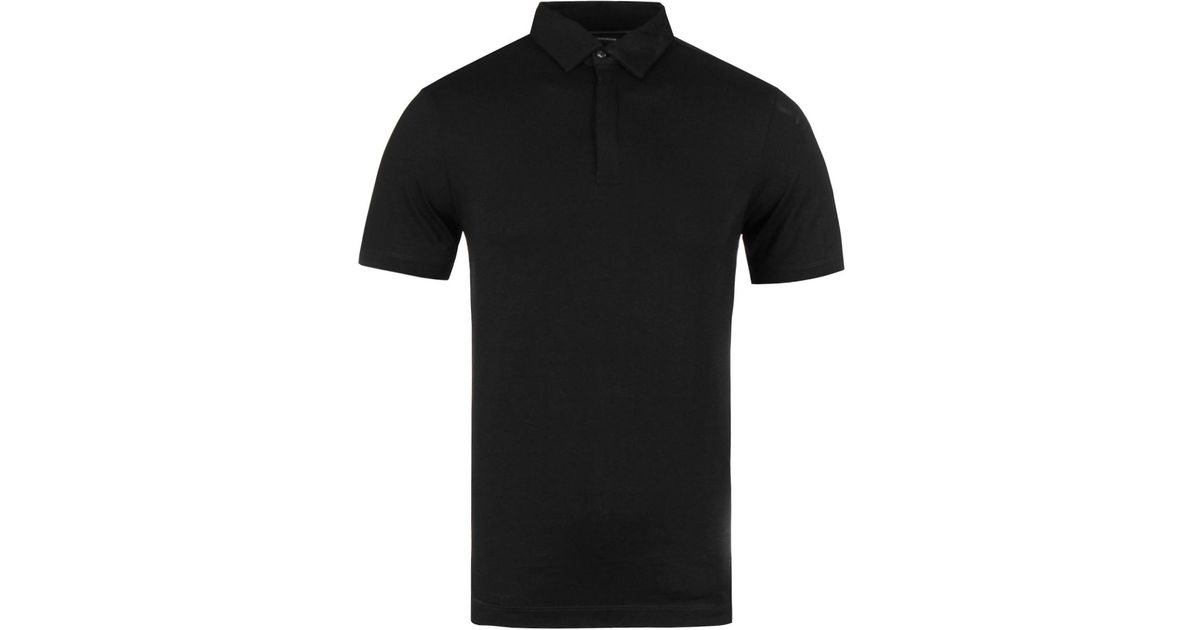 fc46917b24bd Lyst - Emporio Armani Black Hidden Button Short Sleeve Polo Shirt in Black  for Men