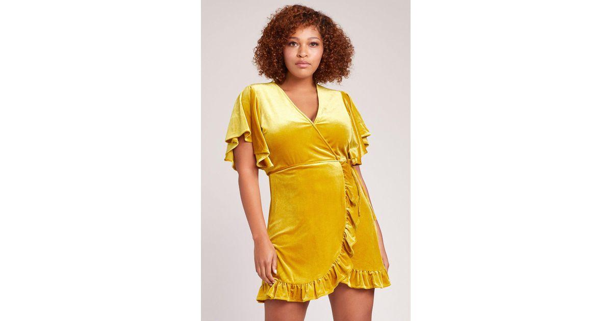 8e045dba09 Lyst - Jack BB Dakota West Village Velvet Wrap Dress in Yellow - Save 25%