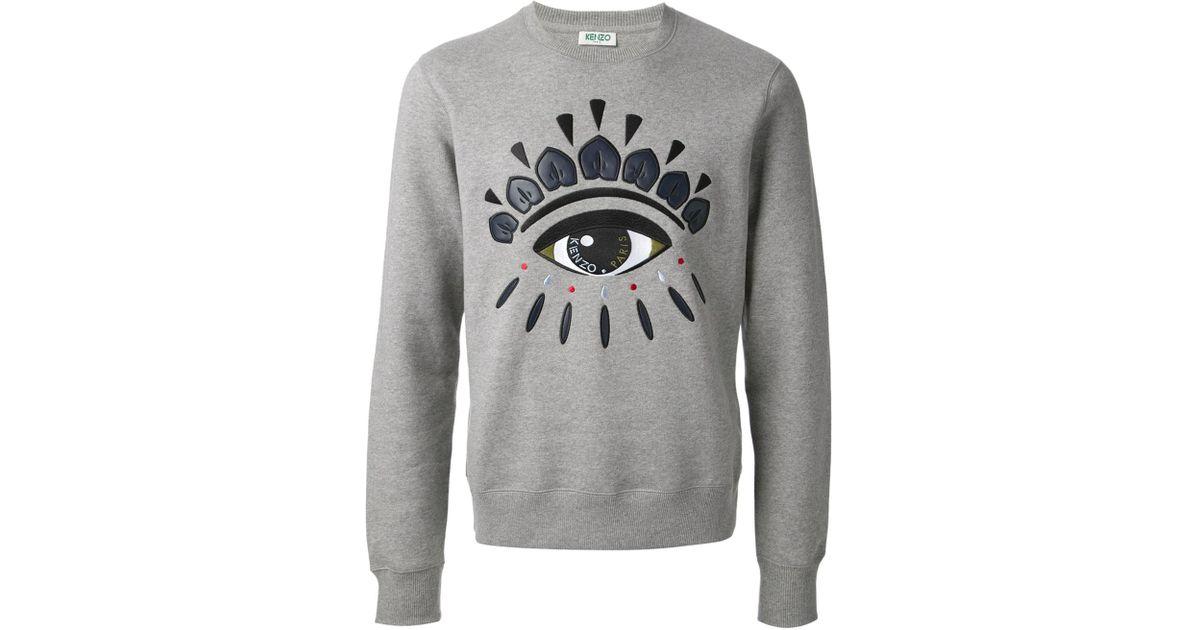 77c59b616 KENZO Embroidered Eye Sweatshirt in Gray for Men - Lyst