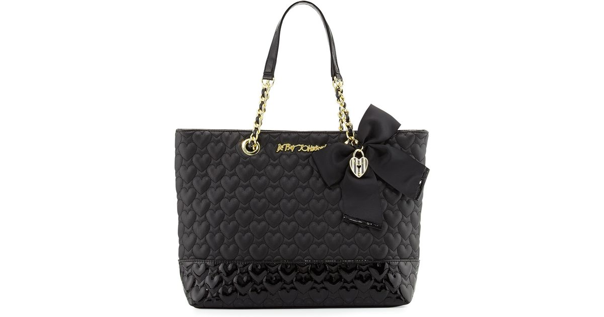 Lyst Betsey Johnson Be Mine Quilted Tote Bag In Black