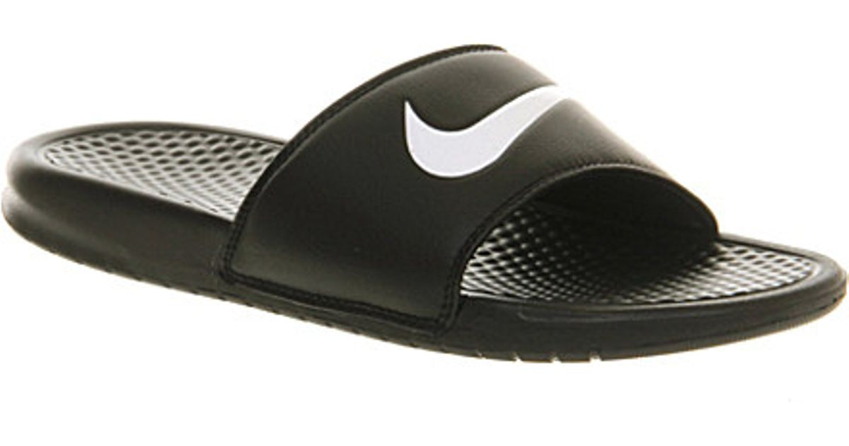 Sandals Slider Benassi Nike Black Swoosh Lyst In UR1IwU