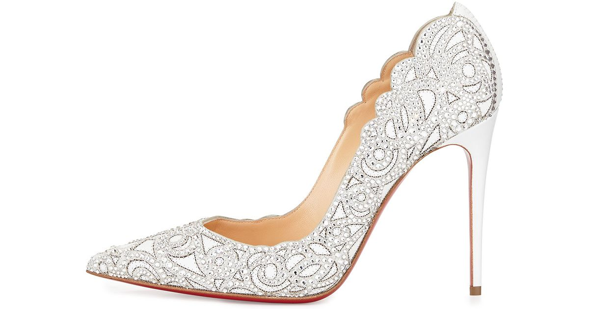 Christian Louboutin Metallic Top Vague Scalloped Crystal Red Sole Pump Lyst