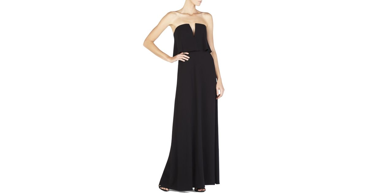 4fce16b6b2f1 BCBGMAXAZRIA Alyse Strapless Overlay Gown in Black - Lyst