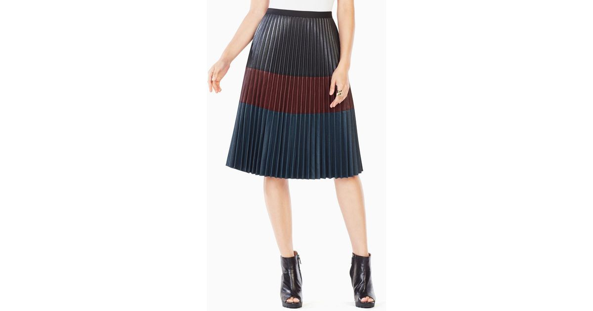 3e9d5618ec Lyst - BCBGMAXAZRIA Elsa Pleated Faux-leather Skirt in Black