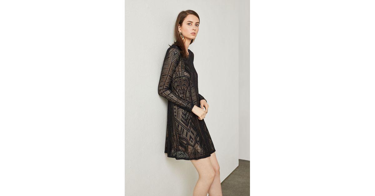 097ed2d3ed Lyst - BCBGMAXAZRIA Bcbg Natyly Long-sleeve Lace Dress in Black