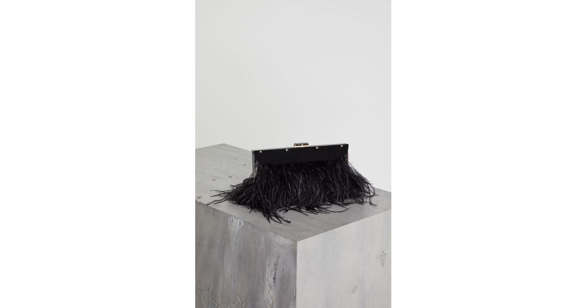 474669b4d8 Lyst - BCBGMAXAZRIA Bcbg Catarina Feather-trimmed Clutch in Black