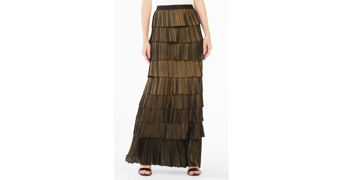 bcbgmaxazria janna metallic pleated maxi skirt in metallic