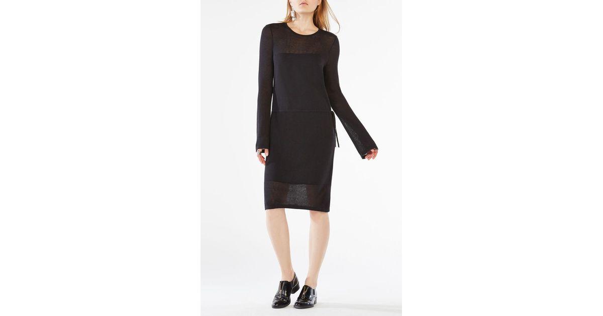 Lyst Bcbgmaxazria Janella Long Sleeve Dress In Black
